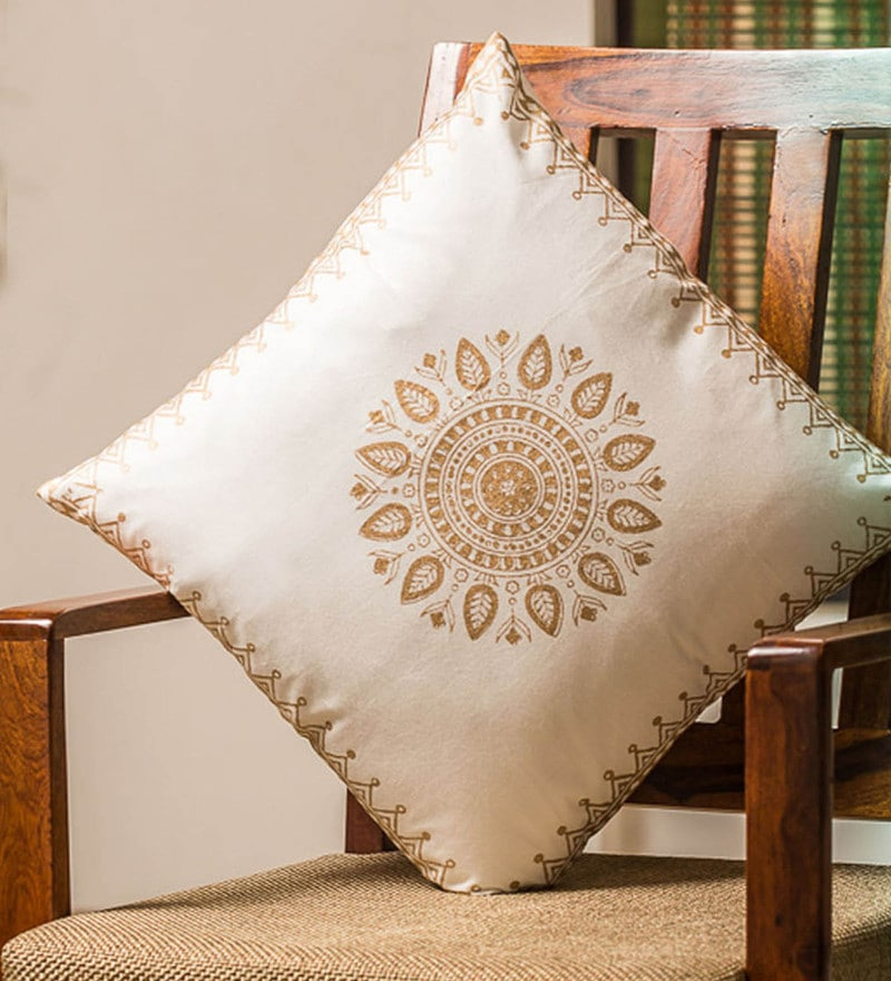 Exclusivelane White & Gold 100% Cotton 16 x 16 Inch Royalty Wooden Handblocked Cushion Cover