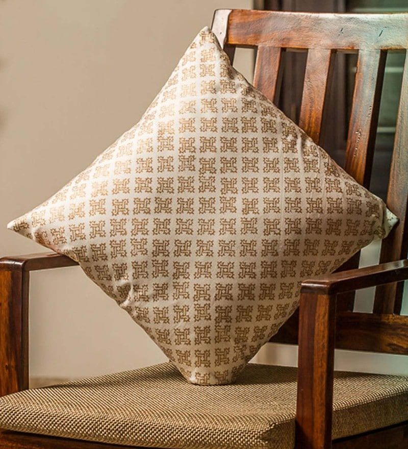 Exclusivelane White & Gold 100% Cotton 16 x 16 Inch Stardom Wooden Handblocked Cushion Cover