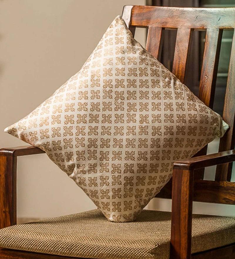 Exclusivelane White & Gold 100% Cotton 16 x 16 Inch Stardom Wooden Handblocked Cushion Cover