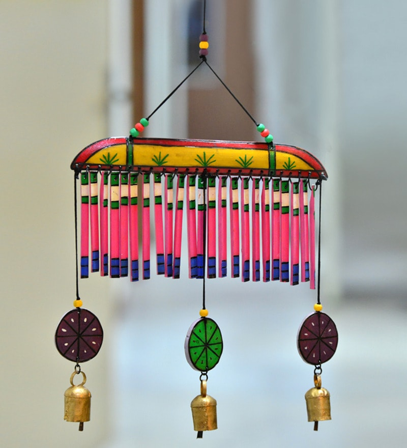 ExclusiveLane Multicolor Wooden Hand-painted Hanging Chime