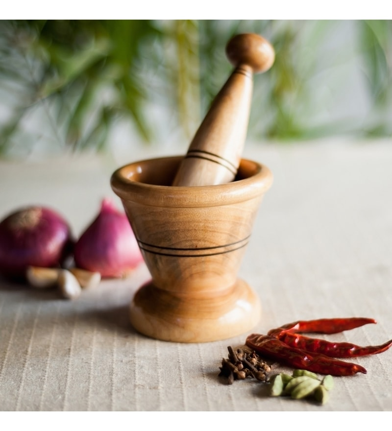 ExclusiveLane Wooden Spice Mortar & Pestle In Natural Brown