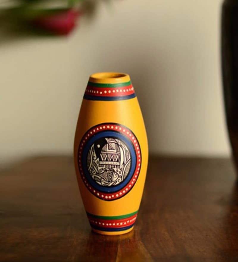 Yellow Terracotta Hand Painted Madhubani Dholak Vase by ExclusiveLane