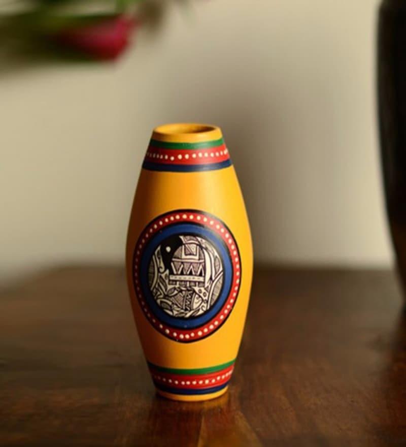 Yellow Terracotta Hand Painted Madhubani Dholak Vase by ExclusiveLane