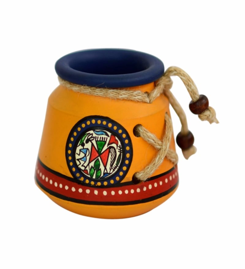 Yellow Terracotta Warli Hand Painted Pen Stand by ExclusiveLane