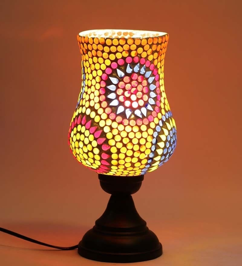 Buy aapno rajasthan warli painting terracotta lamp shade online exemplary multicolour glass table lamp by new era aloadofball Choice Image