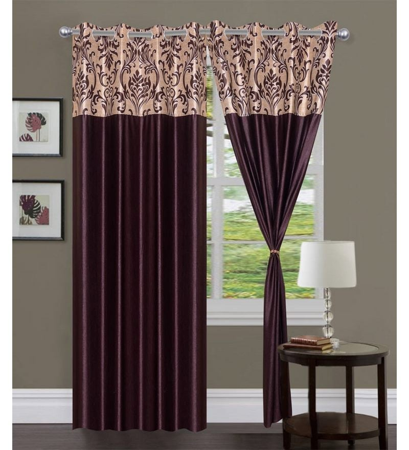 Brown Polyester 84 x 48 Inch Solid Eyelet Door Curtain - Set of 2 by Exporthub