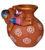 ExclusiveLane Brown Terracotta Hand Painted Baby Ganesha Rolling on the Matki Idol