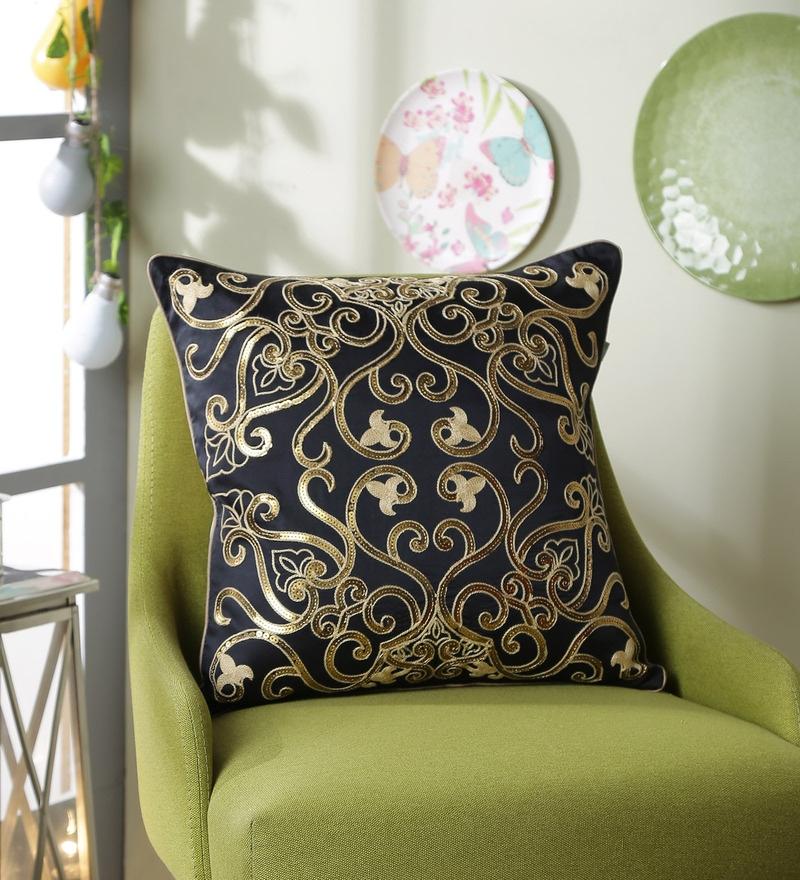 Black Polyester 16 x 16 Inch Aari Sequin Cushion Cover by Eyda