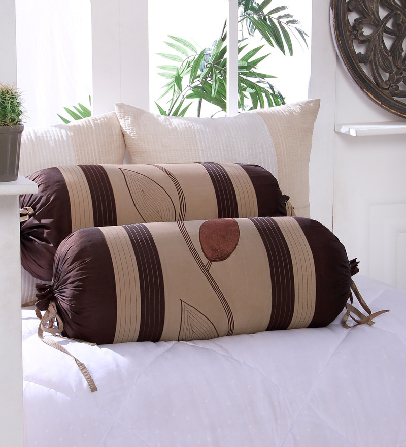 Brown Polyester 16 x 30 Inch Leaf Trail Bolster Covers - Set of 2 by Eyda