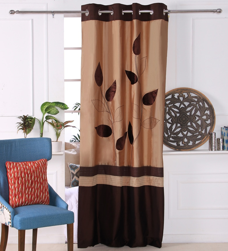 Brown Polyester 53 x 84 Inch Leaf Trail Door Curtains - Set of 2 by Eyda