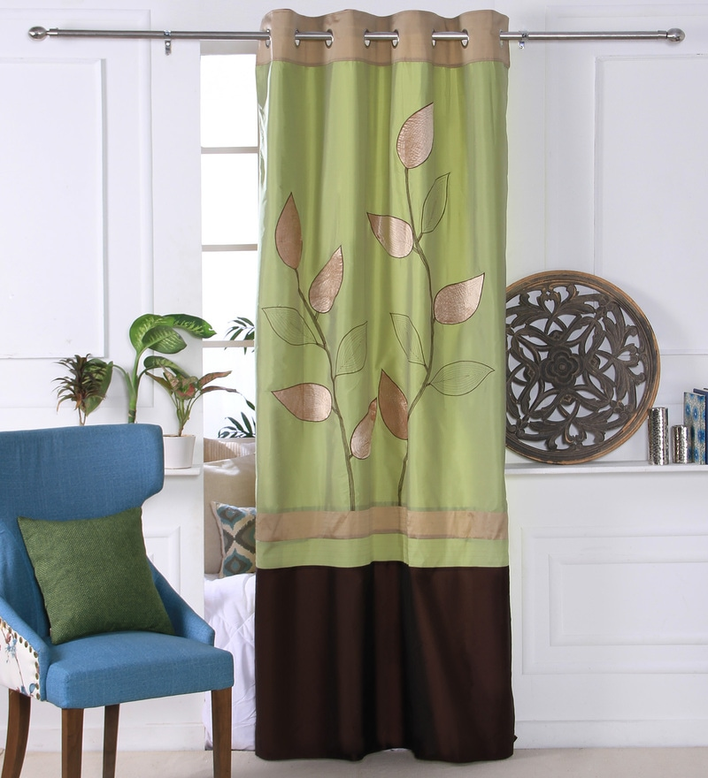 Green Polyester 53 x 84 Inch Leaf Trail Door Curtains - Set of 2 by Eyda