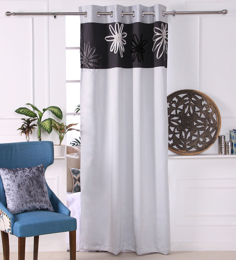 Silver Polyester 53 x 84 Inch Satin Tape Black Out Door Curtains - Set of 2 by Eyda