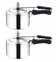 Fabiano Silver Diecast Aluminium Pressure Cookers - Set Of 2