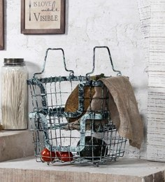 Fabuliv Blue Rustic Metal Baskets - Set Of 2