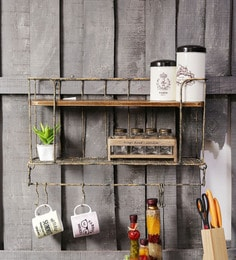 Fabuliv Persian Vintage Yellow Walnut Metal Mango Wood Kitchen Wall Shelf With Utensil Hangers