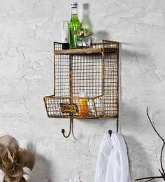 Fabuliv Vintage Yellow Iron And Wood 10.2 X 9.2 X 17 Inch Industrial Bath Shelf