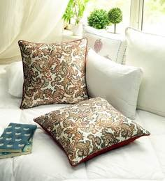 Faux Silk Jacquard Finish Multi Color Premium Set Of 2 Cushion Cover