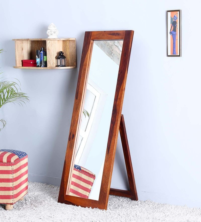 Brown Sheesham Wood Full Length Floor Mirror with Stand by Satyam International