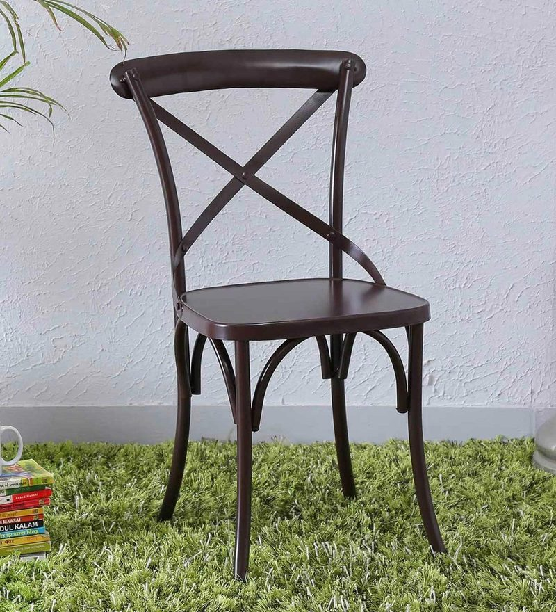 Fabian Metal Chair in Coffee Brown Color by Bohemiana
