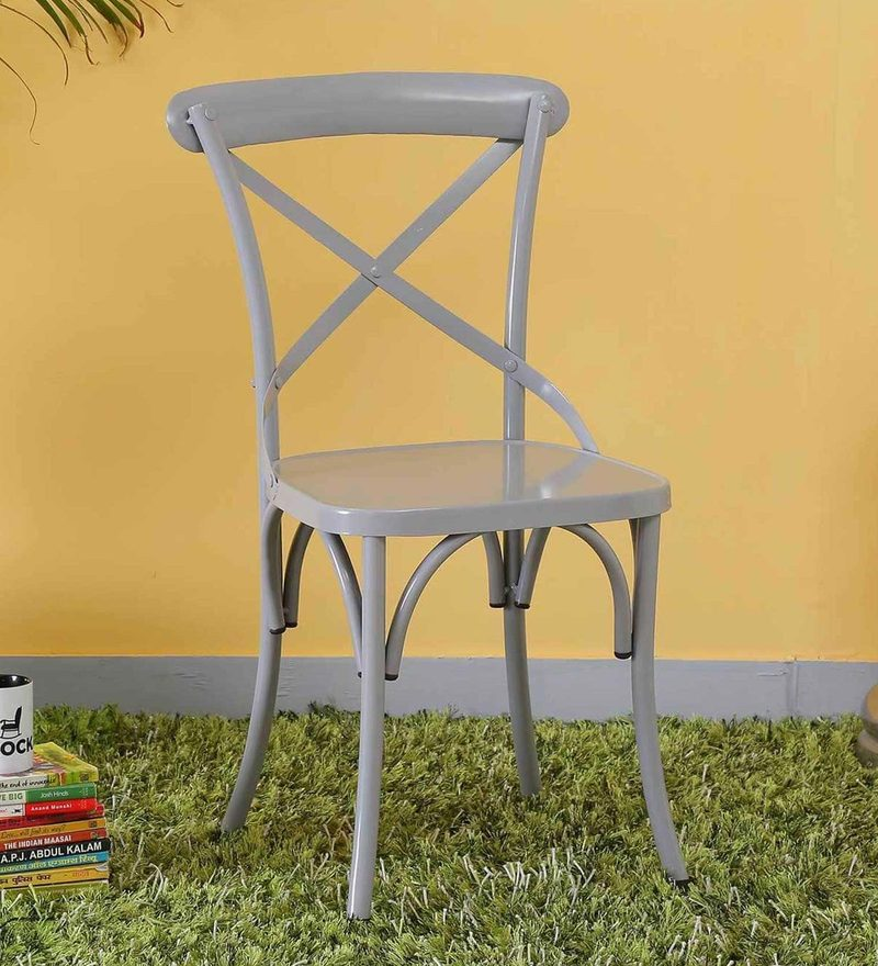Fabian Metal Chair in Steel Grey Color by Bohemiana