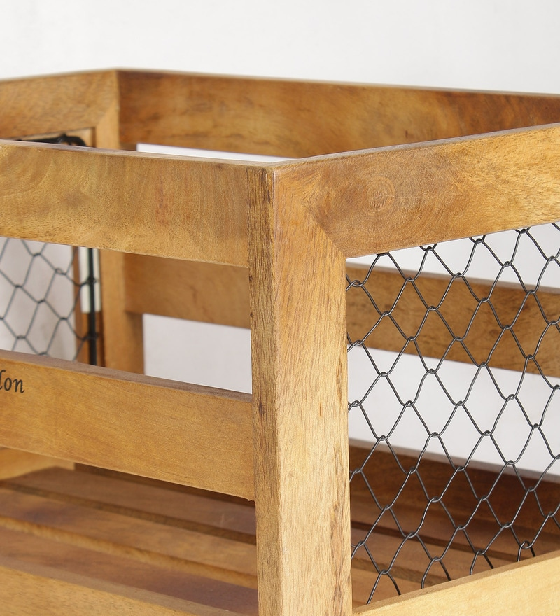 Buy Fabuliv Brown Mango Wood Crate Extra Large Basket Online   Crates    Crates   Housekeeping U0026 Organisers   Pepperfry Product