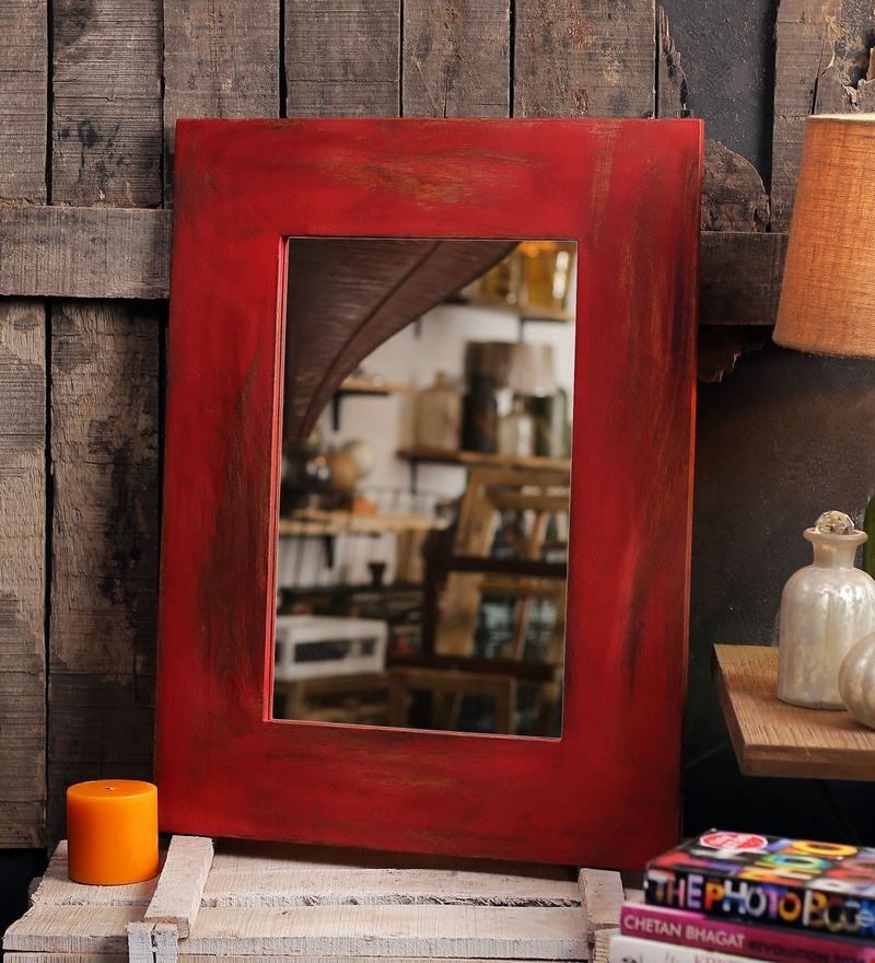 Red Mango Wood Nebulus Wall Mounted Mirror by Fabuliv