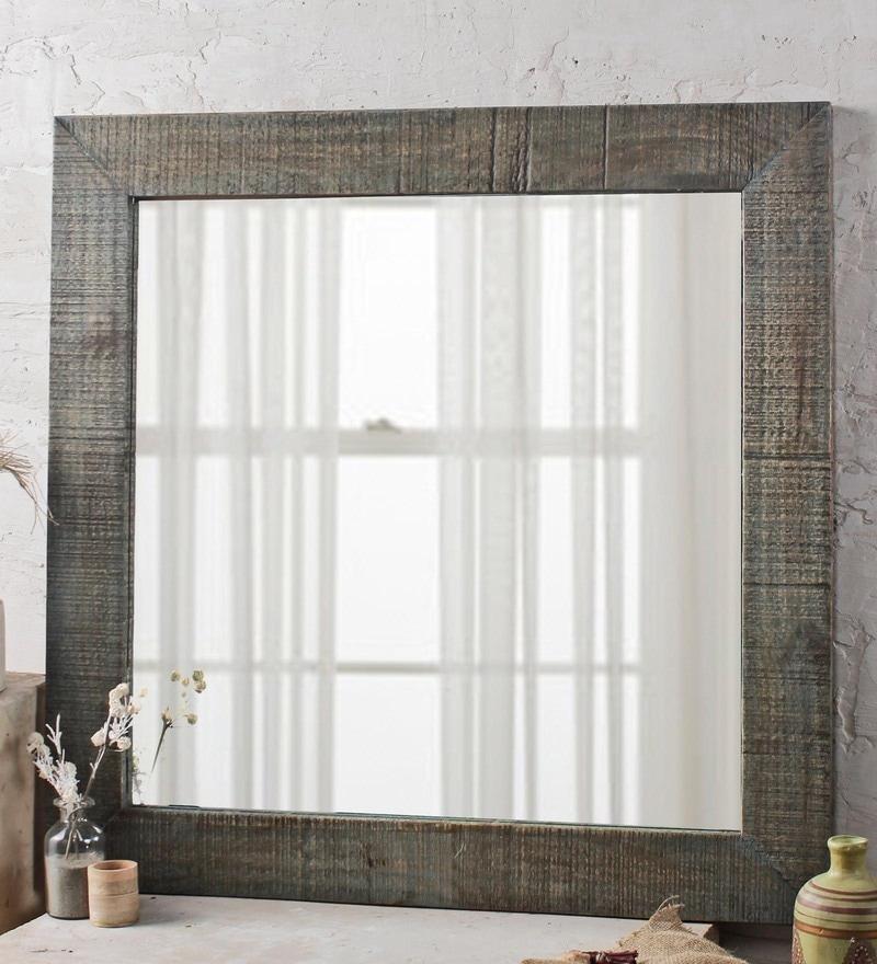 Fabuliv Vintage Green Mango Wood 32 x 1 x 32 Inch Handcrafted Bathroom Mirror
