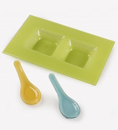 Fennel Green Glass Tray Set - Set Of 3