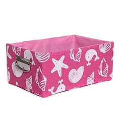 Fennel Medium Cotton & Polyester Pink Printed Storage Basket With Handle