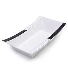 Fennel Rectangular Black & White Ceramic Bowl