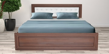Fenton Queen Bed With Drawer Storage In Classic Walnut Finish