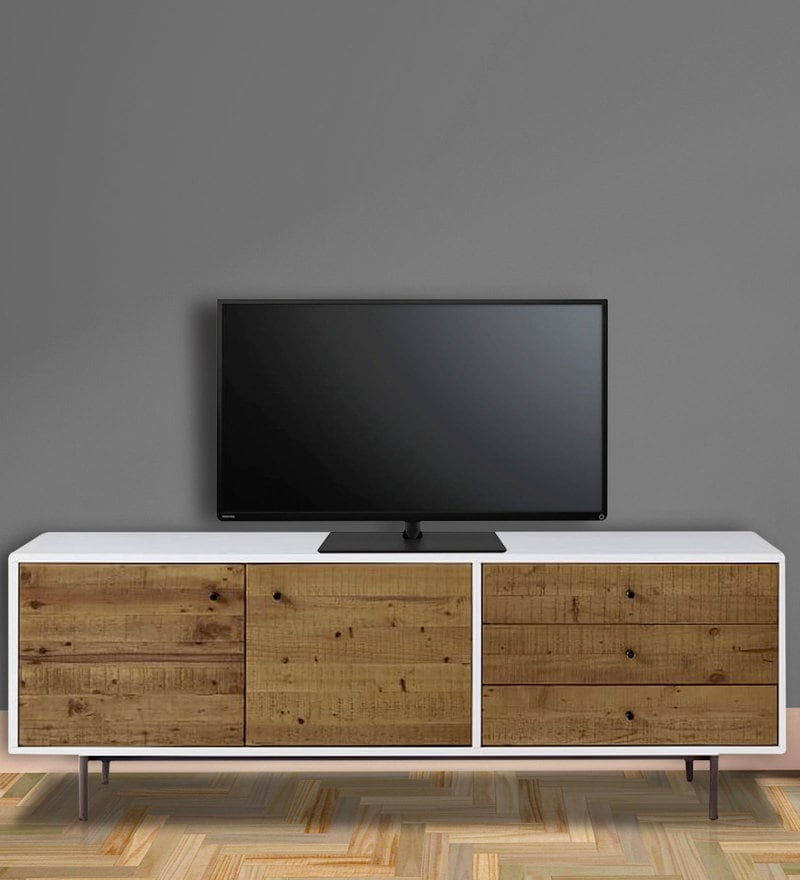 Felix Entertainment Unit in Brown & White Finish by Asian Arts