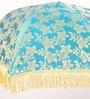 Festive Collection Blue Cloth Fancy Decorative Folding Umbrella