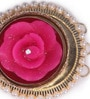 Festive Collection Multicolour Metal Fancy Carving Leaf Sone Design Festive Rose Diya