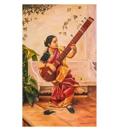 Canvas 20 X 32 Inch Lady In Red Saree & Playing Sitar Unframed Handpainted Art Painting