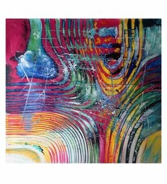 Canvas 32 X 32 Inch Abstract Unframed Handpainted Art Painting - 1608380