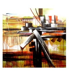 Canvas 40 X 40 Inch Abstract Unframed Handpainted Art Painting
