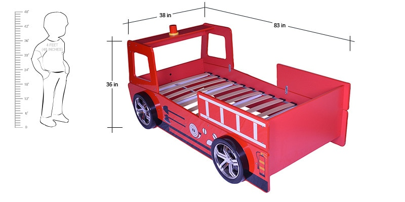 Buy Fire Engine Bed In Red Finish By Parin Online Single Beds