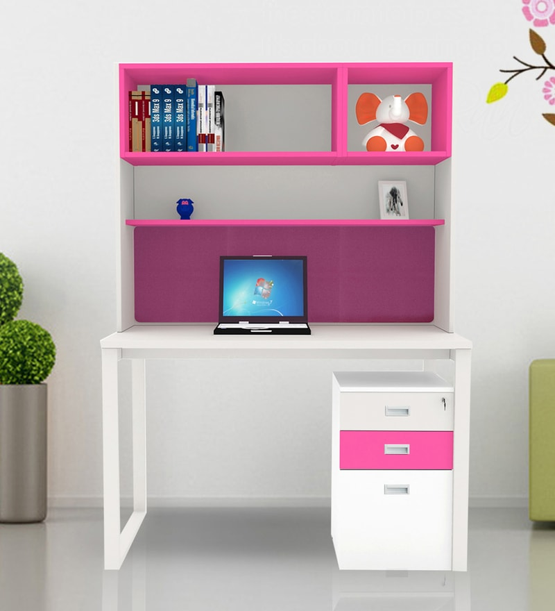 Fiamma Study Unit with Storage - V in Pink & White Colour by UNiCOS