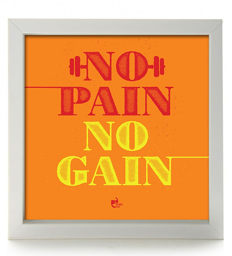 Fibre 8.5 x 8.5 x 1 Inch No Pain No Gain Box Framed by Thinkpot