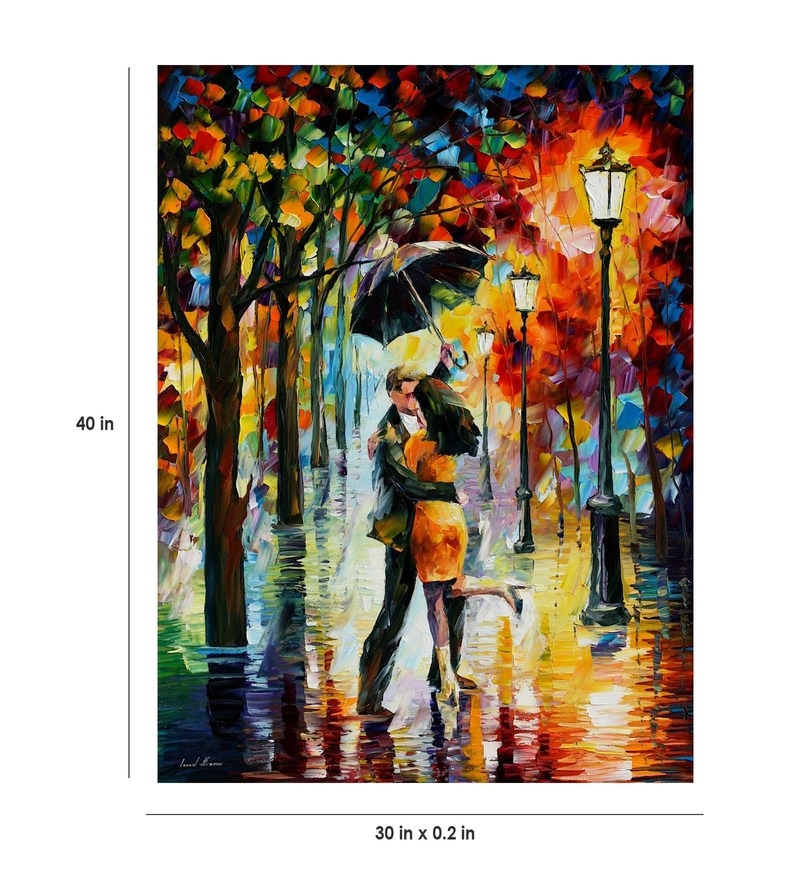 Canvas 30 x 40 Inch Dance Under The Rain Unframed Handpainted Art Painting by Fizdi Art Store