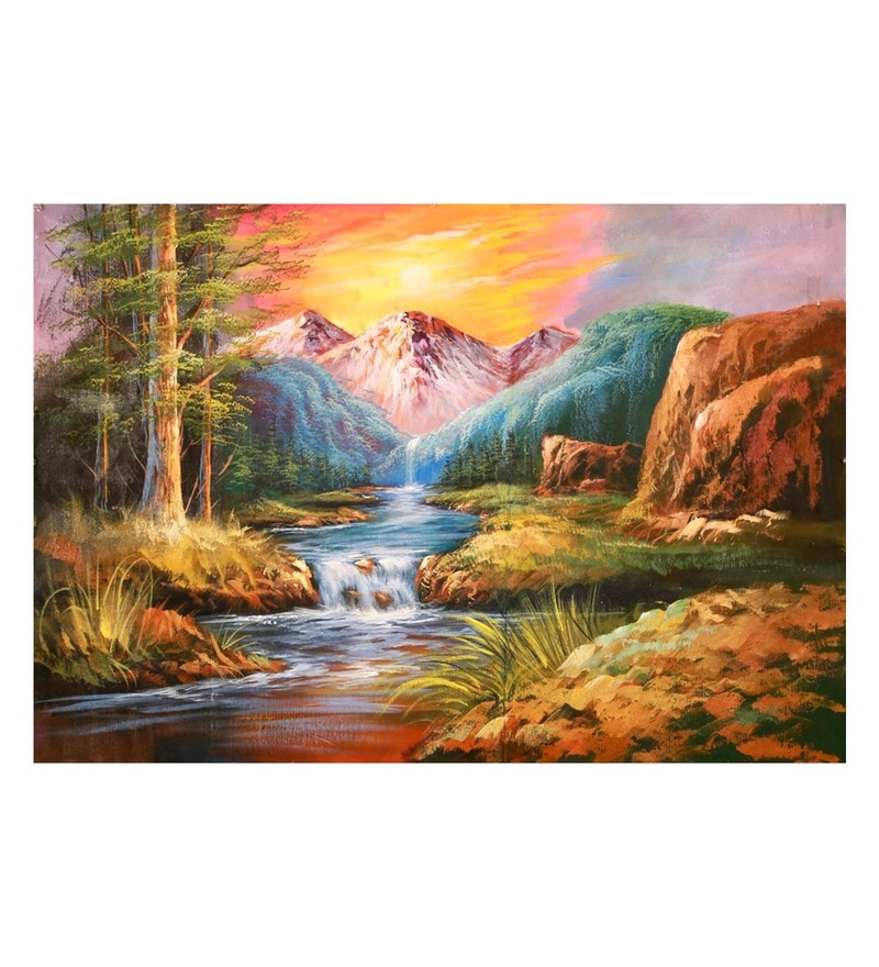 Canvas 36 x 24 Inch Beauty of Nature Unframed Handpainted Art Painting by Fizdi Art Store