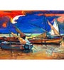 Fishing Boats And Sea Engineered Wood Art Panel by Hashtag Decor