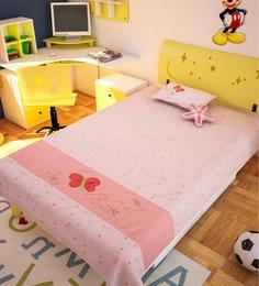 FLYFROG KIDS Pink Cotton Flowers Single Sheet, Pillow, Cushion - Set Of 3