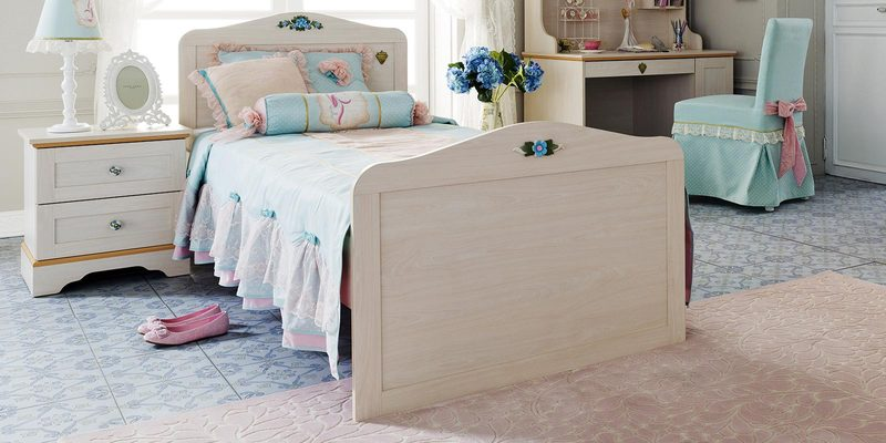 Flora Standard Single Bed in White and Pink Colour by Cilek Room
