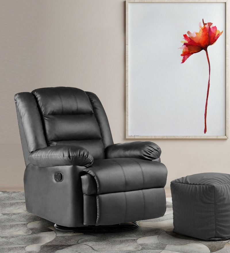Flavia One Seater Revolving Rocker Recliner in Black Leatherette by Parin