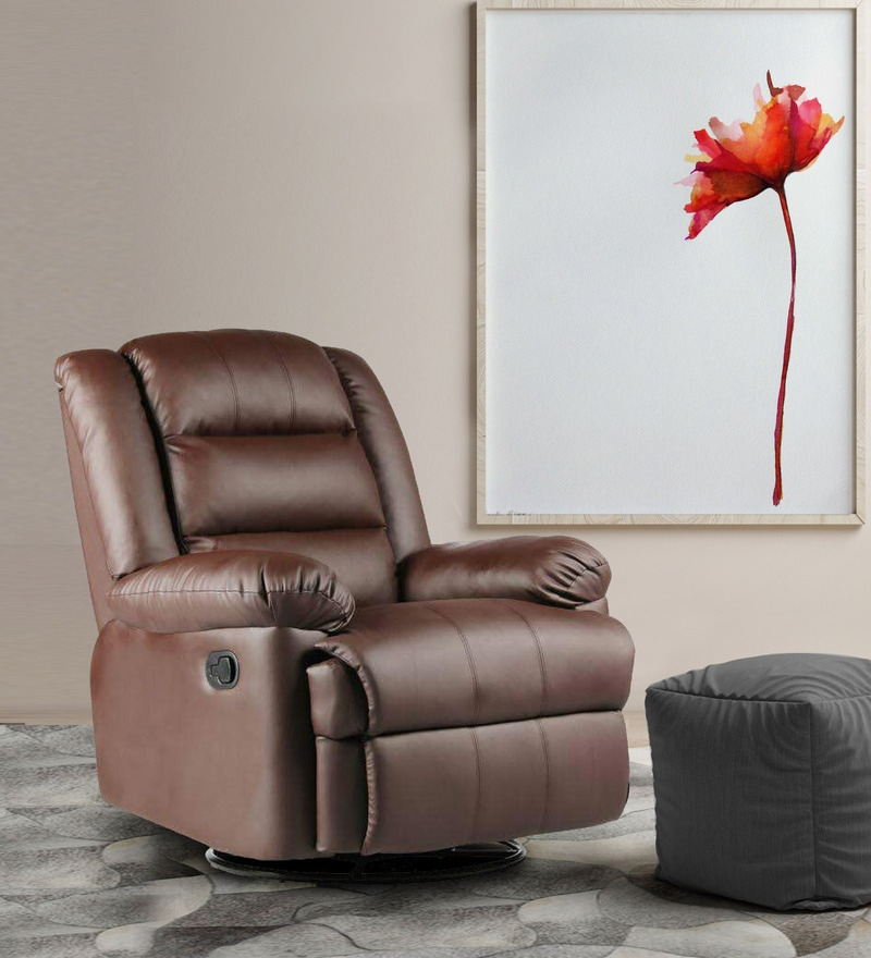 Flavia One Seater Revolving Rocker Recliner in Brown Leatherette by Parin