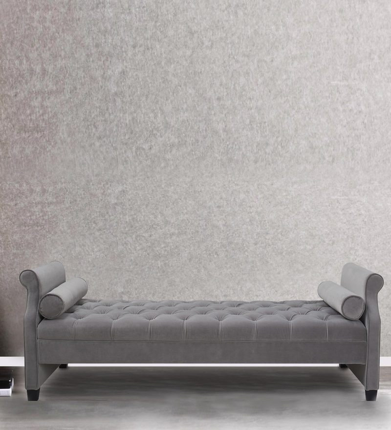 Florenza Settee with Plush Tufting & Bolsters in Grey Colour by Dreamzz Furniture