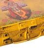 Fluke Design Company Lord Krishna Playing Flute Decoupage Yellow Aluminium 7.1 x 3.9 x 2 Inch Keepsake Box