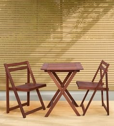 Foldable & Compact Two Seater Dining Set In Natural Brown Finish